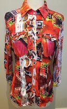 GABRIELLA FRATTINI Multicolour Graphic Print Stretch Collared L/S Body Shirt 10