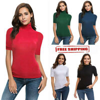 Summer Fashion Womens Casual Solid Short Sleeve Turtleneck Tops T Shirt Blouse