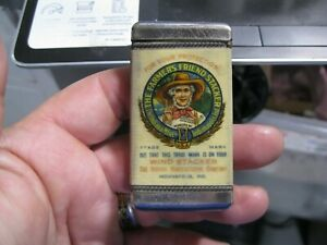 vintage advertising match safe the farmers friend stacker