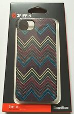 Apple Iphone 5 5S Genuine Griffin case cover hard shell back grey chevron