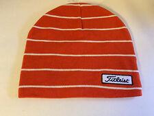 NEW! TITLEIST Unisex Striped Golf Beanie-Orange/White