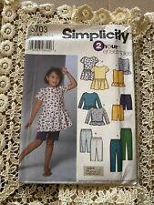 Simplicity 5703 Size 3-6 Child's Dress Top Knit Pants Capri Pants Shorts