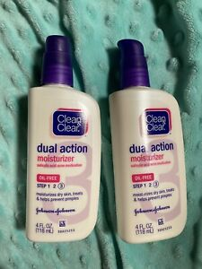 CLEAN - CLEAR Dual Action Moisturizer Oil-Free 4 oz (Pack of 2) Exp 2018/12