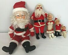 Vintage Lot of Santa Doll Figures White Knee Hugger Elf Mrs Claus
