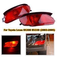 Pair Red Len LED Rear Bumper Brake Fog Light For Lexus RX330 RX350 RX400h 04-09