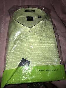 Vintage VanHeusen Green & White Print Mens XXL Dress Shirt NOS 18-18 1/2 34/35