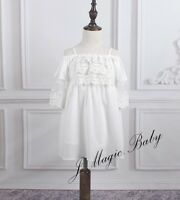 Baby Girls Girl White Lace Off Shoulder Dress Birthday Party Gift Wedding