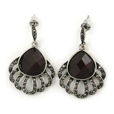 Hematite Crystal Feather Marcasite Drop Earring In Antique Silver Tone - 37mm Le