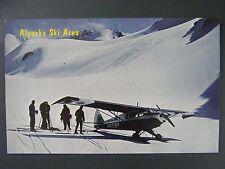 Alyeska Skigebiet Raven Glacier CHUGACH Mountains Piper Flugzeug VTG Postkarte 1960s