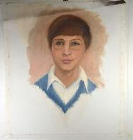 "19"" Oil Painting Canvas Young Boy w/ Glasses Portrait Artwork Wall Decor"
