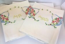 HAND EMBROIDERED PILLOW CASES MR & MRS HAND CROCHETED WITH FLOWER BASKET VINTAGE