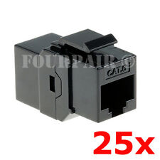 25 Pack - CAT6 Inline Coupler Keystone RJ45 Female Snap-In Jack Insert - Black