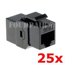 25 Pack - CAT6 Inline Coupler Keystone RJ45 Female Snap-In Jack Insert - Black