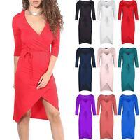 Womens V Neck Plunge Wrap Over Dress Ladies 3/4 Sleeve Fishtail Belt Midi Dress
