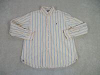 Ralph Lauren Polo Button Up Shirt Adult 2XL XXL Yellow Blue Pony Casual Men B78*