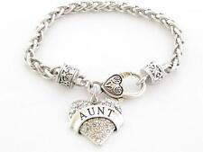 Aunt Clear Crystal Heart Silver Plated Lobster Claw Bracelet Jewelry Family Gift