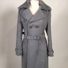 BEBE DB TIE FUR CLEAR WOOL/RABBIT FUR Women's Grey Coat Size Medium