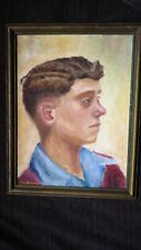 E.W. Stavely - Oil On Canvas Board - Profile of Boy - Wood Frame - Undated 14x18
