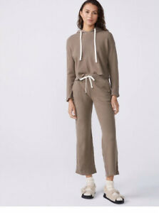 monrow Thermal Sweat Pants And Crop Hoodie Pebble Drawstring Nwt Size XS