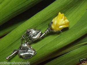 Lovely   Brooch Amber and Silver  Carved Rose Flower made from egg yolk amber