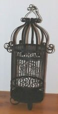 """Vtg Black Wrought Iron Bird Cage Decorative 26"""" Tall Heavy Hanging or Tabletop"""
