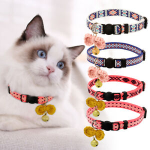 Cute Pet Puppy Cat Breakaway Collar Safety Quick Release Buckle & Bell & Bowknot