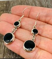 Mexican 925 Sterling Silver Earrings Black Onyx Round From Taxco Mexico