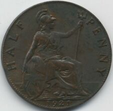 1921 George V Half Penny With Clipped Planchet Error**Collectors**High Grade**