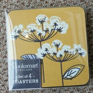 Cooskmart Retro Meadow Collection set of four Coasters, yellow / ochre /grey