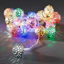 Silver Metal Ball Lights with Multi Coloured LED's All Year Round Use