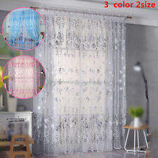 1 X Transparent Sheer Voile Door Window Curtains Floral Pattern Drapes-Valance
