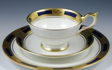 AYNSLEY Empress Cobalt Cup, Saucer & Plate Trio - Excellent Condition