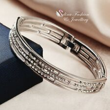 18K White Gold Filled Simulated Diamond Studded Shiny Hollow Out Bangle