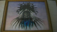 COMANCHE WARRIOR WITH FEATHERS BLUE, FRAMED PRINT by TIM SAUPITTY FROM 1995