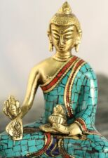 Buddha Statue Turquoise Coral & Lapis on Brass Metal Artisan Handcrafted Detail