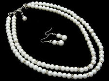 41a SP Bridal 2 Strand Faux White Pearl & Clear Rondelle Necklace Set