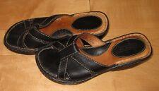 Born Womens Black Leather Wedge Slide Sandals 6
