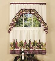 "CHARDONNAY COMPLETE TIER & SWAG SET 36"" L  KITCHEN CURTAIN WINE BOTTLES & GRAPES"