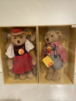 Steiff German Black Forest Teddy Bears Girl 0283/28 Boy 0276/28 In Boxes