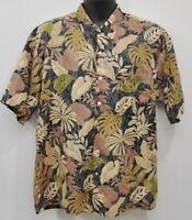 Tori Richard Men's Hawaiian Camp Shirt Size Large Cotton Lawn Dark Colors Aloha