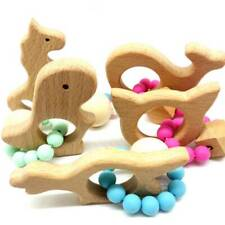 Baby Bracelets Wooden Chew Beads Teething Rattles Toys Teether W