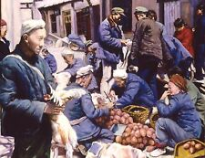 """Original Oil painting """"Market""""by Qi Debrah,Realistic,People,17""""x14"""",1998,signed"""