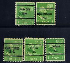 United States #804(1) 1938 1 cent green GEORGE WASHINGTON 5 BOX Cancels