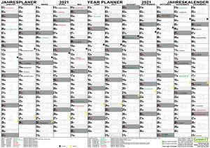 Wandplaner 2021 DIN A1 gefaltet Wandkalender Kalender Jahr Plan KW groß Feiertag