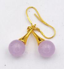 Beautiful Natural lavenderjade Gemstone 925 Silver Gold-plated/Dangle Earrings