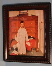 Vintage Norman Rockwell Picture With Boy In Pajamas Comes Framed