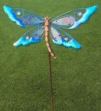 Garden Lawn Yard Decoration bird Blue Dragonfly glass & metal pick stake NEW 38""