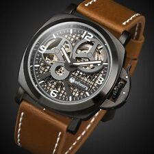 INFANTRY Mens Skeleton Mechanical Wrist Watch Brown Leather Russian Style Luxury