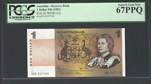 Australia One Dollar ND(1982) P42d Uncirculated Graded 67