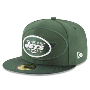 New York Jets Hat NY New Era 59Fifty 5950 Fitted Cap Size 7 Green White Football